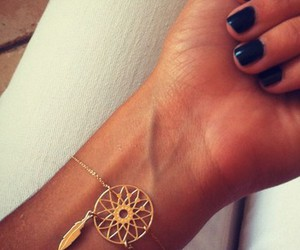 bracelet, gold, and nails image
