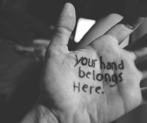 love, hand, and belong image