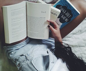 asian girls, books, and hair image