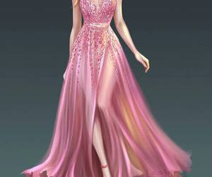 dress, pink, and art image