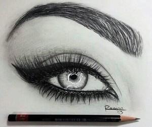 art, eye, and winged eyeliner image