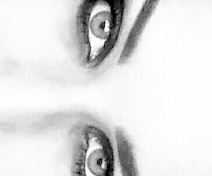 black and white, green, and eyes image