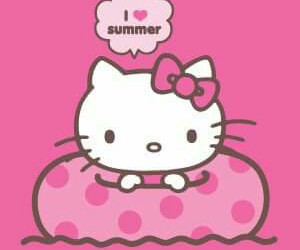 hello kitty, pink, and summer image