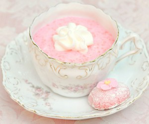 pink, cup, and food image