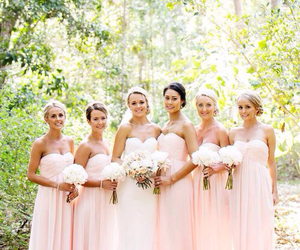 wedding, bride, and bridesmaids image