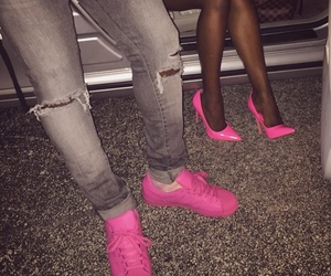 heels, pink, and ripped jeans image