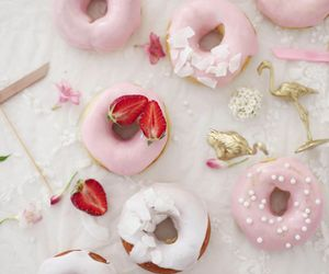 donuts, strawberry, and food image