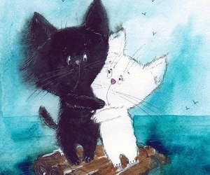 art, raft, and cats image
