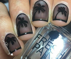 black, palm trees, and nail art image