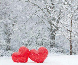 snow, hearts, and love image