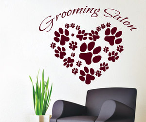 paw prints, love animals, and cat decal image
