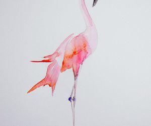 aquarelle, art, and flamingo image