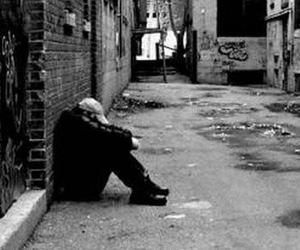alone and black and white image