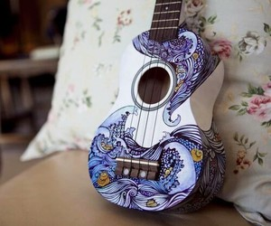 blue, guitar, and intersting image