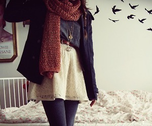fashion, bird, and scarf image