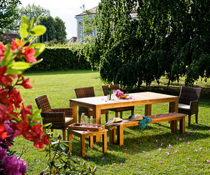 family, table, and garden image