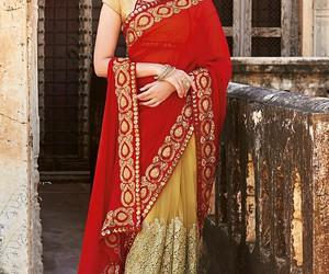 india, sari, and saree image
