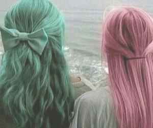 hair, pink, and green image