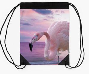flamingo, pink flamingo, and backpack image