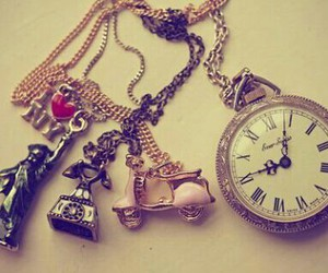 clock, necklace, and vintage image