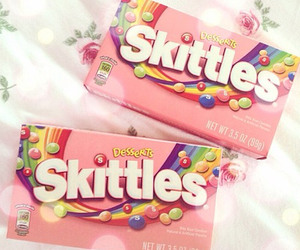 skittles, pink, and candy image