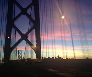 bridge, sky, and sunset image