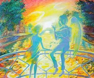 angel, bridge, and colours image