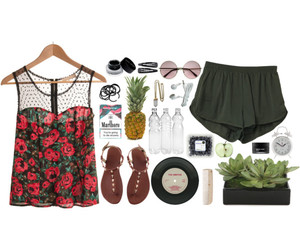 floral, outfit, and Polyvore image