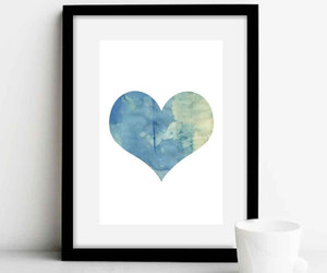 art print, blue, and heart image