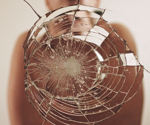 broken, mirror, and glass image