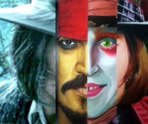 captain jack sparrow, mad hatter, and johnny depp image