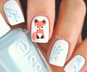 nails, fox, and nail art image