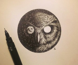 owl, moon, and tattoo image