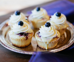 food, blueberry, and cupcake image