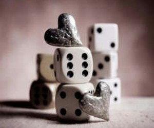 love, dice, and heart image