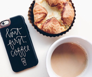 coffee, iphone, and food image