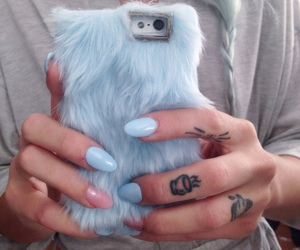 nails, blue, and tattoo image