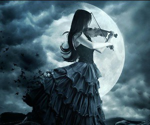 violin, moon, and music image