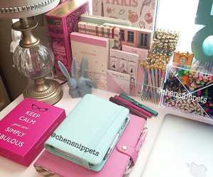 keep calm, girly desk, and gold lamps image