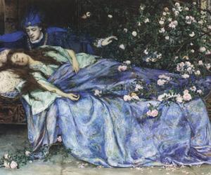 sleeping beauty, fairy tale, and art image