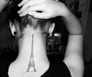 tattoo, paris, and black and white image