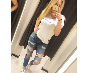 adidas, blond hair, and boyfriend jeans image