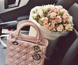 rose, bag, and flowers image
