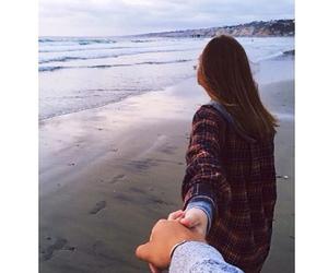 beach, beauty, and couple image
