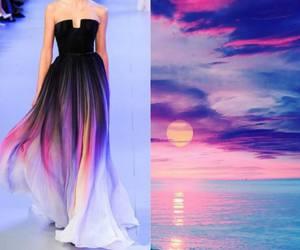dress, sunset, and nature image