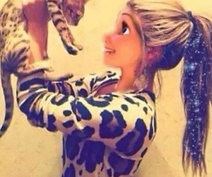 girl, cat, and hair image