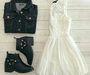 boots, dress, and fashion image