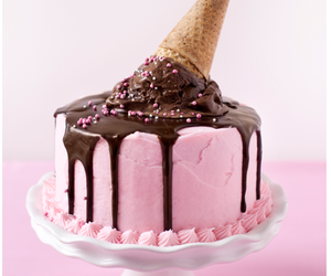 cake, pink, and ice cream image