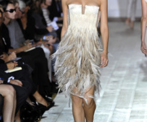 blonde, feathers, and gown image