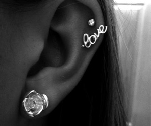 love, piercing, and earrings image